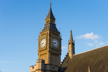 trafalgar: Big Ben and Westminster abbey in London, England Stock Photo