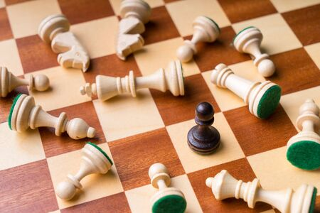 Chess business concept, leader & success from top view