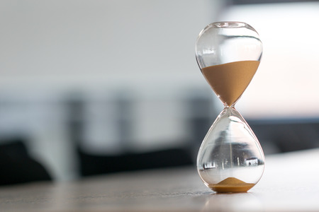 Sand clock, business time management concept Stock Photo