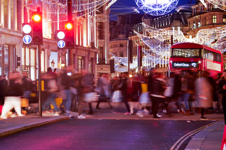 regent: Shopping at Oxford street, London, Christmas day