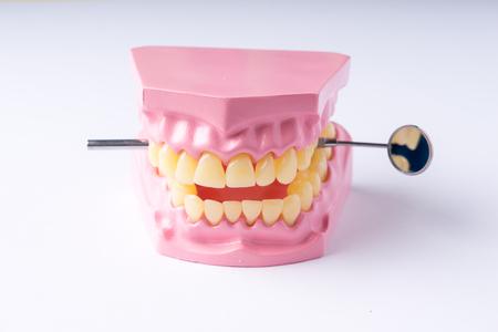 Set of metal Dentists medical equipment tools, top view