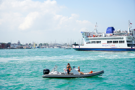 PORTSMOUTH, UK - JULY 10, 2018: Summer in Portsmouth, one of the most beautiful port in UK and very popular for tourists