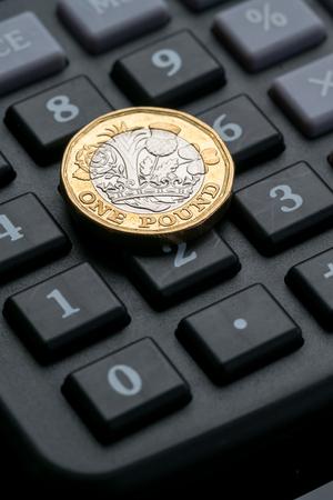New British one pound coin in studio Archivio Fotografico