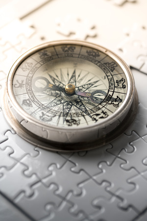 Vintage compass in business concept - strategy Stok Fotoğraf