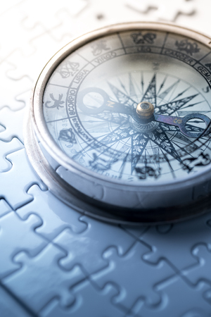 Vintage compass in business concept - strategy Banco de Imagens
