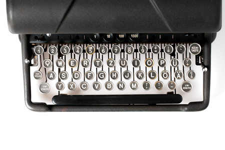 Close up of retro style typewriter in studio Stock Photo