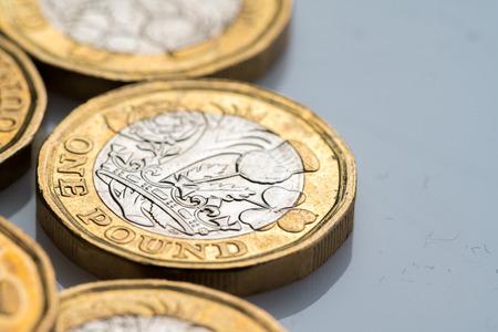 New British one pound coin in studio Stock Photo