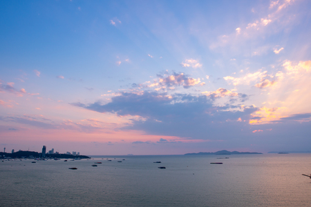 Clear and sunset sky at the beach, Pattaya in summer