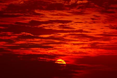 Big sun, Sunset sky background Stock Photo