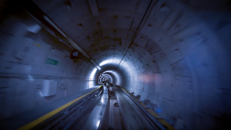 A tunnel for trains at the Zurich airport, speed & technology concept Foto de archivo