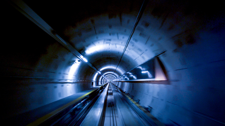 A tunnel for trains at the Zurich airport, speed & technology concept Stock Photo