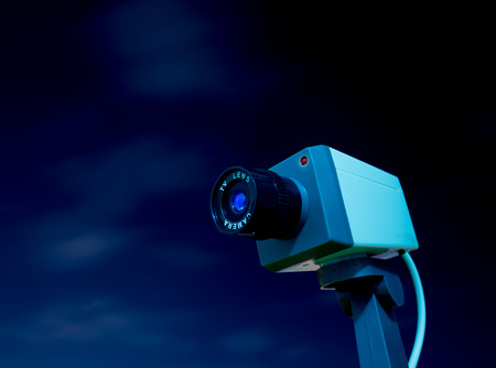 CCTV camera outdoor with sky and cloud Stock Photo