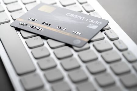 Online credit card payment concept with a keyboard Imagens