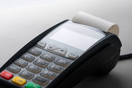 Credit card machine in online payment concept