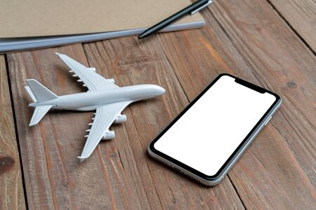 Travel & airplane with online booking concept