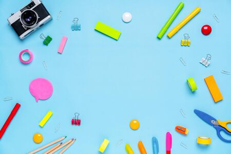 Colorful stationary in concept creative school work Stock fotó