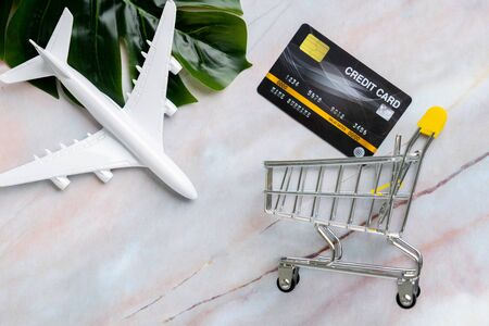 Online payment for travel concept with shopping cart top view