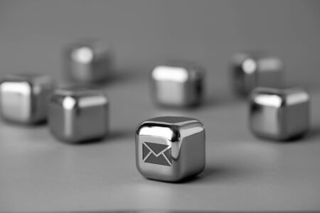 Contact us icon on metal cube for futuristic style Stock fotó