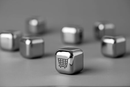 Online shopping icon on metal cube for futuristic & creative style Stock fotó
