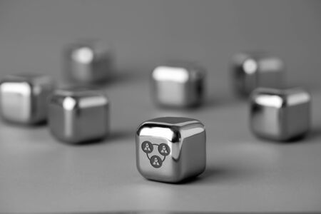 Business & HR icon on metal cube for futuristic style