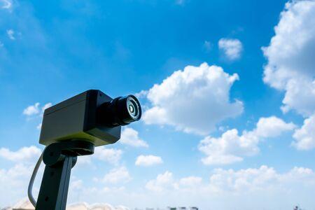 CCTV camera outdoor with sky and cloud Stock fotó