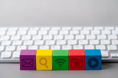 Social media concept icon on keyboard Stock fotó