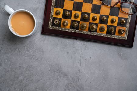 Chess online and strategy business concept from top view Stock fotó