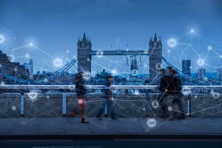Movement of people in London as network & HR concept Stock fotó