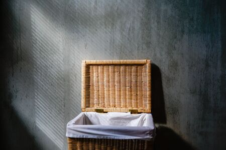 Towel basket in the hotel bathroom in loft style 스톡 콘텐츠