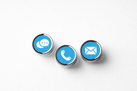 Contact us business icon on computer keyboard in retro style