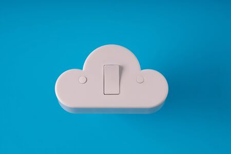 Cloud technology icon on colorful & creative background for online and offline concept Stockfoto