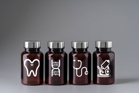 Medical icon on medicine bottle for global health care