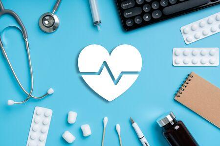 Medical icon on blue background