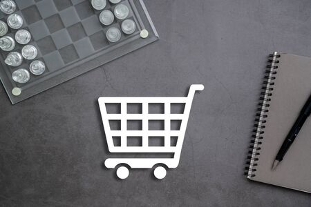 Online business & shopping concept on stationary background