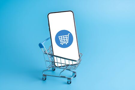 Online shopping & cloud icon on mobile phone application