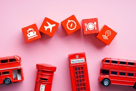 Travel & transport icon on colorful concept background Imagens