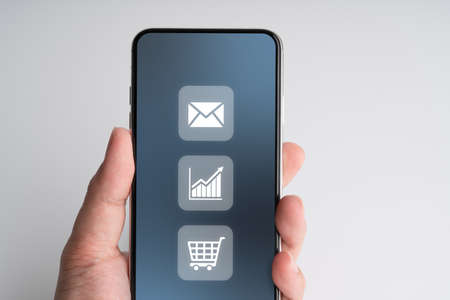 Online shopping icon on smart phone