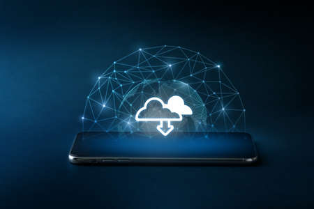 Cloud technology icon on smart phone for 5G & online concept Imagens
