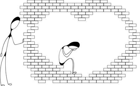 rupture: One man is crying inside heart-shaped brick wall, another is standing outside