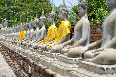 Wat Yai Chai Mongkol temple in ayutthaya thailand, Monuments of old and ancient white Buddha and old brick wall and pagoda, 27 may 2018
