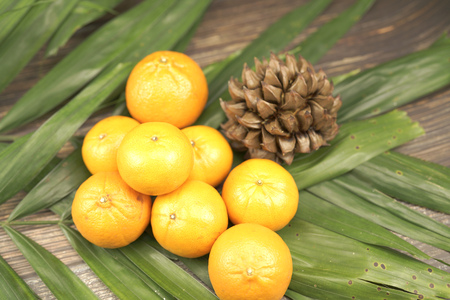 oranges and a little nipa palm fruit on leaf background