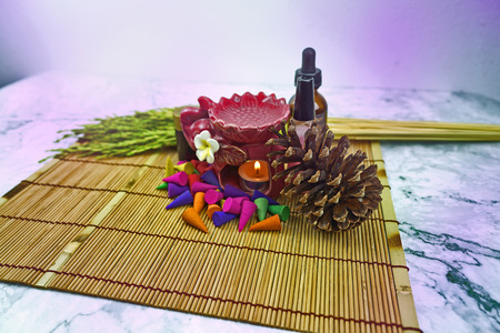 aroma stove and multi color of perfume incense with lighting effect Archivio Fotografico
