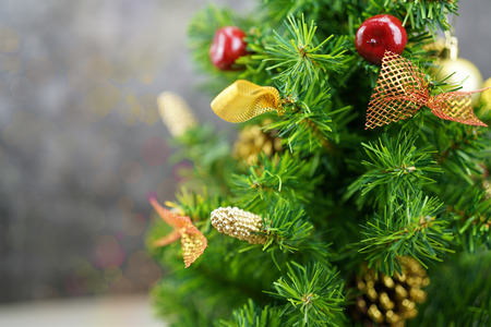 Christmas background and  orment pine and gift Stock Photo