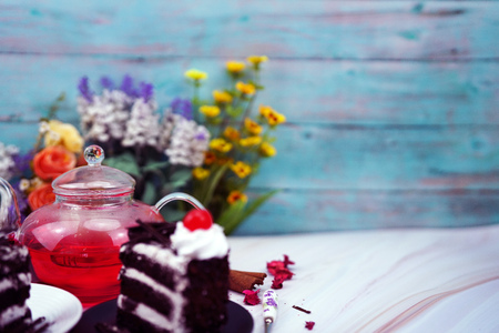 valentine cake and rose tea in romantic lights Stock Photo