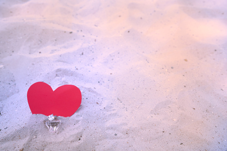 red heart and diamond ring  background for valentine Stock Photo