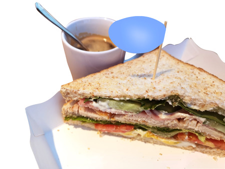 sandwitch and coffee for breakfast and snack Stock Photo