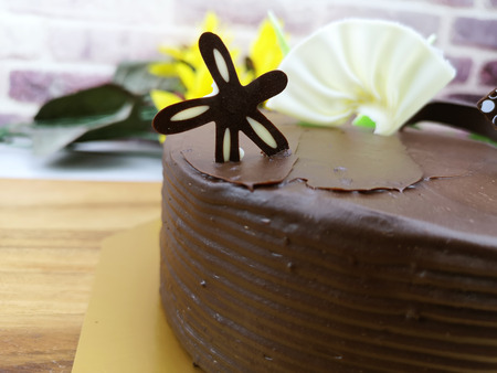 selective focus of chocolate cake for background