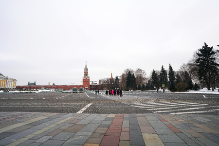 tourist walking in area of  red square at Moscow,Russia.4December2018