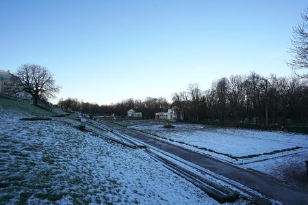 Winter Season At Grand Cascade And Garden In Peterhof St Petersburg