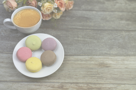 low opacity of macaron and fresh coffee greeting card and background or presentation